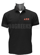 Delta Sigma Omega Polo Shirt with Greek Letters, Black