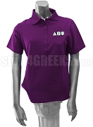 Delta Theta Psi Polo Shirt with Greek Letters, Purple