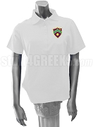 Gamma Eta Polo Shirt with Crest, White
