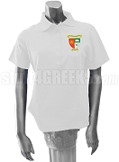 Lambda Sigma Gamma Polo Shirt with Crest, White
