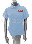 Lambda Phi Delta Polo Shirt with Greek Letters, Light Blue