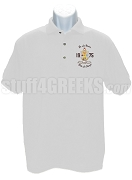 Lambda Theta Phi Polo Shirt with Embellished Crest, White