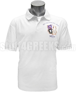 Mu Sigma Nu Polo Shirt with Crest and Organization Name, White