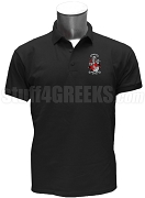 Nu Alpha Phi Polo Shirt with Crest, Black