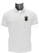 Omega Delta Polo Shirt with Crest, White