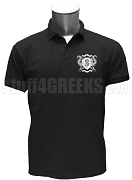 Omega Phi Gamma Polo Shirt with Crest, Black