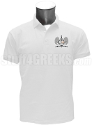 Omega Phi Zeta Polo Shirt with Crest, White