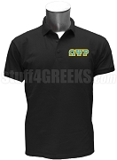Omega Psi Rho Polo Shirt with Greek Letters, Black
