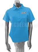 Omega Sigma Psi Polo Shirt with Greek Letters, Powder Blue