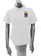 Phi Alpha Delta Ladies Polo Shirt with Crest, White