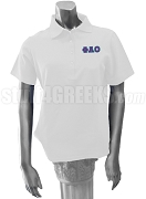 Phi Alpha Omicron Polo Shirt with Greek Letters, White