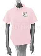 Rho Delta Chi Polo Shirt with Crest, Pink