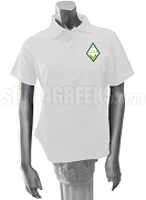 Sigma Alpha Polo Shirt with Crest, White