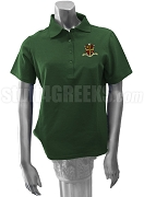 Sigma Alpha Omega Ladies' Polo Shirt with Crest, Forest Green