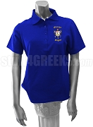 Omega Sigma Chapter of Sigma Gamma Rho Polo Shirt with Chapter Name and Crest, Royal Blue