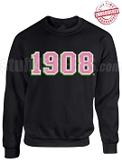 Alpha Kappa Alpha 1908 Triple Layer Crewneck Sweatshirt - Lifetime Embroidery Guarantee