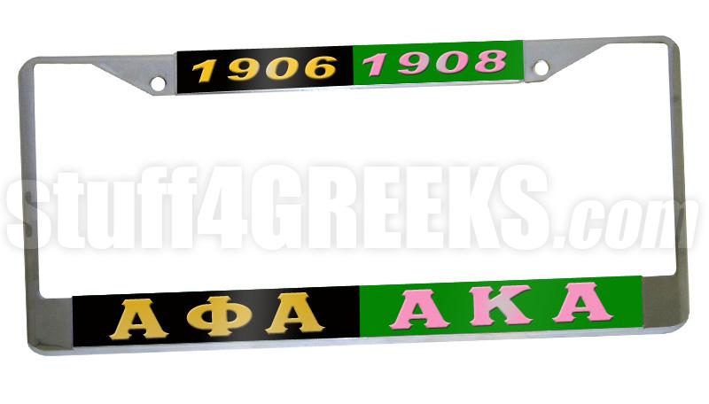 Alpha Phi Alpha/Alpha Kappa Alpha Split License Plate Frame - Alpha Phi  Alpha/Alpha Kappa Alpha Split Car Tag