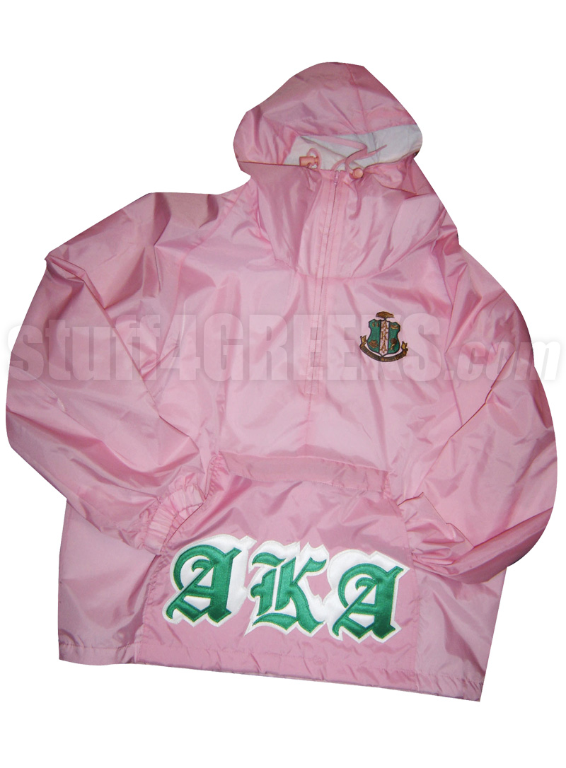 pink alpha kappa alpha pullover anorak jacket with old