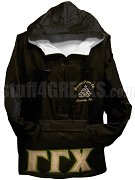 Gamma Gamma Chi Triple Greek Letter Pullover Anorak Jacket with Crest, Black