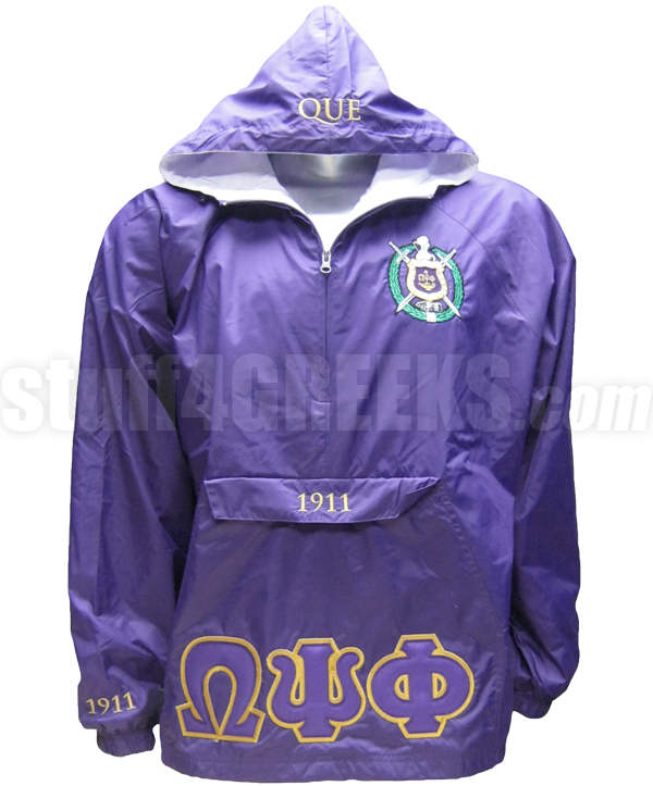 Purple Omega Psi Phi Greek Letter Pullover Anorak Jacket With Crest
