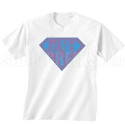 Theta Nu Xi Screen Printed T-Shirt with Letters Inside Superman Shield, White