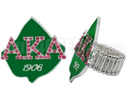 Alpha Kappa Alpha 1908 Ivy Leaf Stretchy Band Ring with Stones