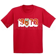 Sigma Alpha Iota Screen Printed T-Shirt with Crest and Founding Year, Red