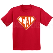 Sigma Alpha Iota Screen Printed T-Shirt with Letters Inside Superman Shield, Red