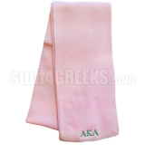 Alpha Kappa Alpha Scarf with Greek Letters, Solid Pink