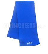 Zeta Phi Beta Scarf with Greek Letters, Solid Royal Blue