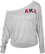 Alpha Kappa Alpha Long Sleeve Heat Press Shoulder Shirt with Metallic Embroidered Greek Letters, Gray