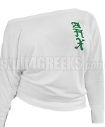 Alpha Pi Chi Long Sleeve Shoulder Shirt with Old English Greek Letters, White