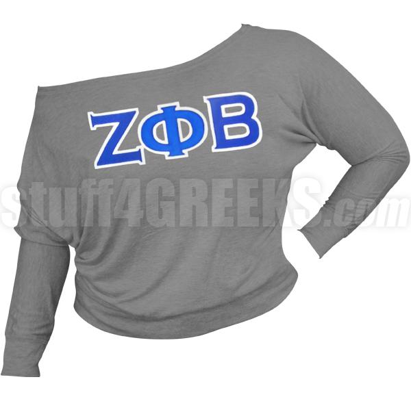 Zeta Phi Beta Greek Letter Long Sleeve Shoulder Shirt Dark Gray