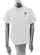 Sigma Alpha Iota Red Rose Polo Shirt, White