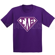 Sigma Lambda Beta Screen Printed T-Shirt with Letters Inside Superman Shield, Purple
