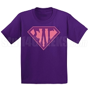 Sigma Lambda Gamma Screen Printed T-Shirt with Letters Inside Superman Shield, Purple