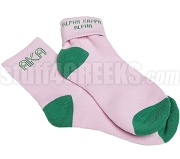 Alpha Kappa Alpha Colored Ankle Sock with Greek Letters and Organization Name