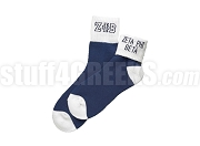 Zeta Phi Beta Colored Ankle Sock with Greek Letters and Organization Name