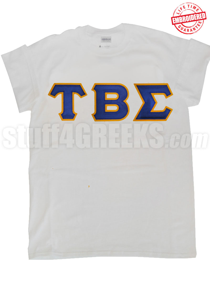 greek letter shirt tau beta sigma letter white t shirt embroidered 22042