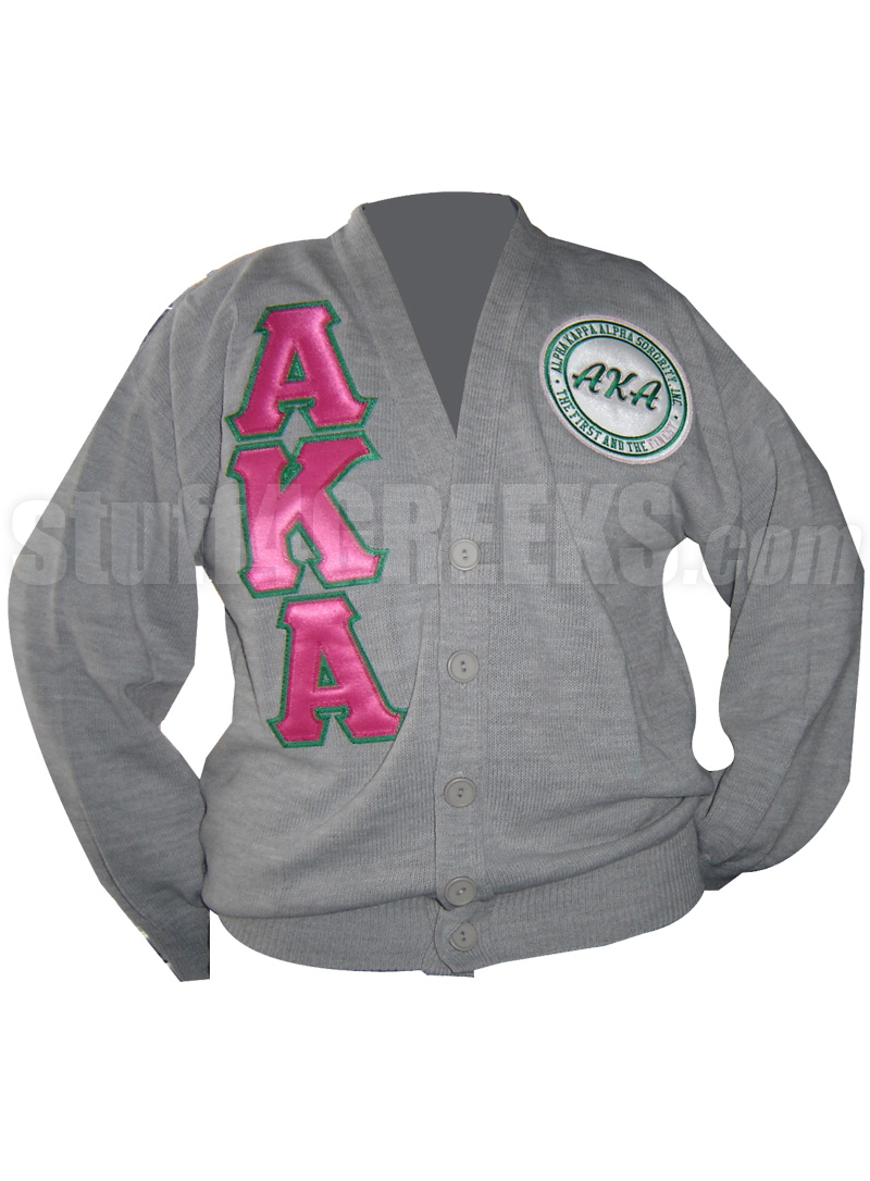 7d0cd0153d9 Gray Alpha Kappa Alpha Cardigan with Hot Pink Letters and First and ...