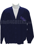 Alpha Epsilon Omega Cardigan Sweater with Logo Letters, Navy Blue