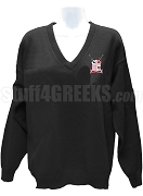 Alpha Eta Theta V-Neck Sweater with Crest, Black