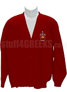 Alpha Gamma Kappa Cardigan Sweater with Crest, Cardinal