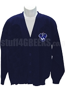 Alpha Gamma Sigma Cardigan Sweater with Crest, Navy Blue
