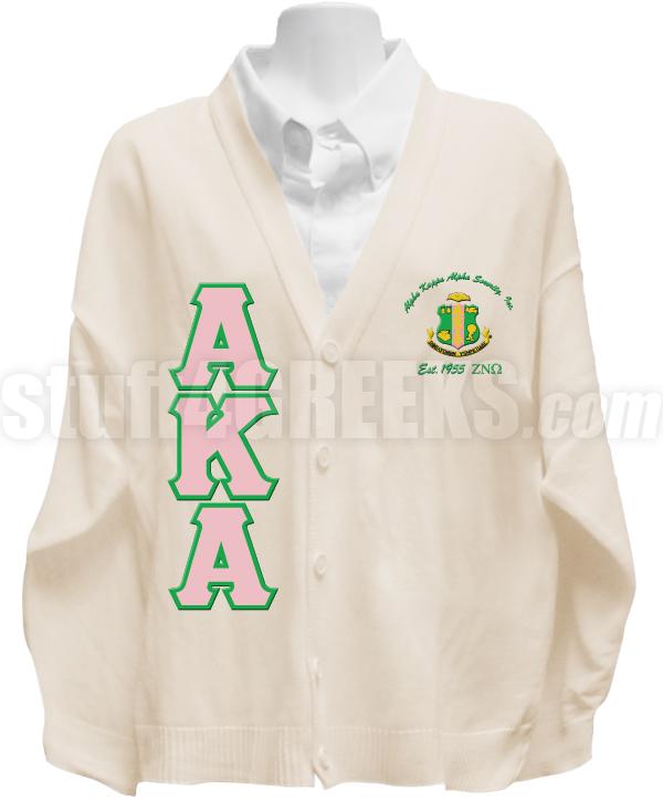 Alpha Kappa Alpha Greek Letter Cardigan with Zeta Nu Omega
