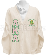 Alpha Kappa Alpha Greek Letter Cardigan with Zeta Nu Omega Chapter Crest and Pearl Ivy Back, Cream - EMBROIDERED With Lifetime Guarantee