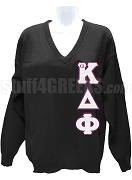 alpha Kappa Delta Phi V-Neck Sweater with Greek Letters, Black
