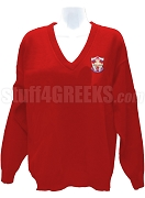 Alpha Lambda Omega V-Neck Sweater with Crest, Red