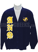 Alpha Nu Omega Crest Cardigan Sweater with Old English Letters, Navy Blue
