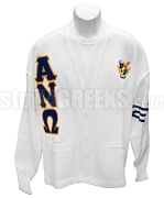 Alpha Nu Omega Greek Letter Cardigan with Crest and Navy Blue Stripes, White